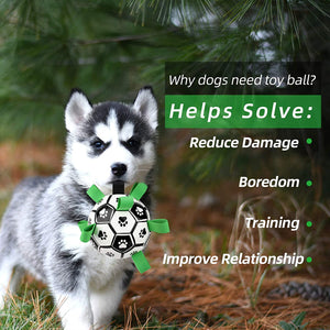 (S186)Dog Soccer Ball with Grab Tabs, Upgraded Interactive Dog Toys, Tug of War Dog Toy, Rubber Ball, Dog Water Toy, Herding Ball