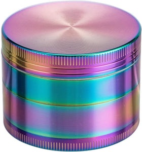 (Y134)4 Piece 2 Inch Herb Grinder Zinc Alloy Metal Spice Grinder with Pollen Catcher - Rainbow Color