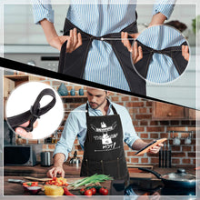 Load image into Gallery viewer, (X501)Kitchen Cooking Apron, Funny Chef Aprons for Women and Men with 3 Pockets, Adjustable Bib Apron Gift Set for Grilling, Baking, Drawing (Black)