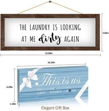 Load image into Gallery viewer, (C563)Laundry Room Decor Wall Decor Rustic Farmhouse Sign - The Laundry Looking at Me Dirty Again-15.6X5.8 Inches Bathroom Decoration Wall Art, Funny Housewarming Gifts