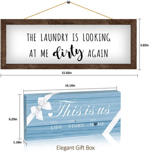 (C563)Laundry Room Decor Wall Decor Rustic Farmhouse Sign - The Laundry Looking at Me Dirty Again-15.6X5.8 Inches Bathroom Decoration Wall Art, Funny Housewarming Gifts