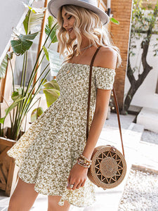 (M538) Miessial Women's Cute Off Shoulder Print Mini Dress Summer Casual Short Sleeve Swing Dress