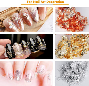 (Y756)Wellvo Gold Foil Flakes for Resin Jewelry Making, 3 Bottles Imitation Gold Foil Flakes Metallic Leaf for Nails, Painting, Crafts, Slime and Resin Jewelry Making