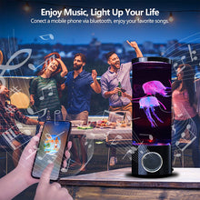 Load image into Gallery viewer, (Q487) Jellyfish Lava Lamp Bluetooth Speaker Aquarium Night Light Multi-Color Changing Mood Light Lamp with 2 Jellyfish USB
