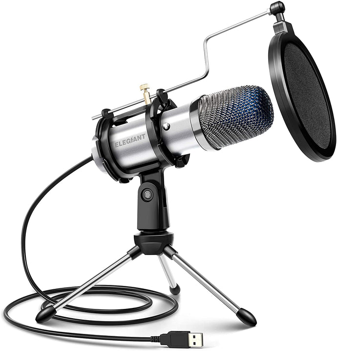 (Y735)ELEGIANT USB Condenser Microphone, Gaming PC Microphone USB Mic for Computer with Anti Slip Stand Pop Filter Vocal Recording Microphone Plug & Play