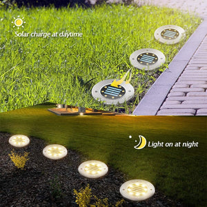 (S246)Solar Ground Lights 16 Packs - 8 LED Solar Garden Lights Outdoor Waterproof in-Upgraded Outdoor Garden Waterproof Bright in-Ground Lights