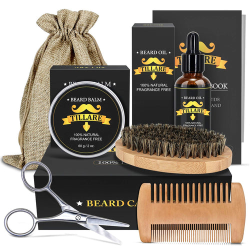 (Q500)Beard Kit for Men, TILLARE Beard Grooming Kit Natural Organic Beard Oil, Beard Balm, Beard Comb, Beard Brush, Beard Scissor