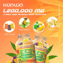 Load image into Gallery viewer, (V300)2 Pack Hemp Gummies, HOOLOO 1,200,000MG Vegan Fruity Hemp Gummy Bears for Relaxing, Sleep Better, Reduce Stress Anxiety, Natural Hemp Extract Gummies