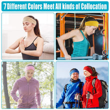 Load image into Gallery viewer, (R638)Wanap Headbands for Women, 7 Pack Running Headband, Colorful Wide Stretchy Sweat Band Perfect for Running, Yoga, Cycling etc. Non Slip Wrap Hair Bands