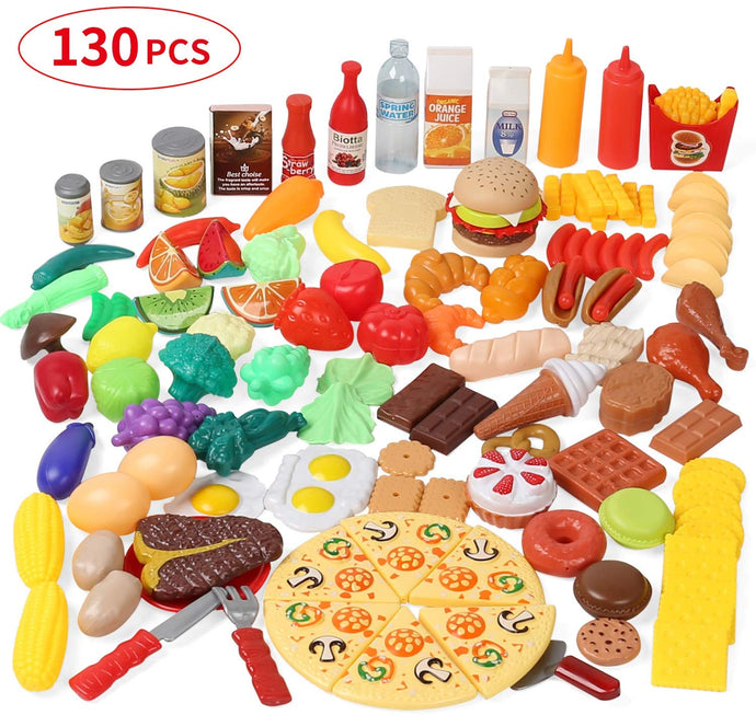 (W302)Shimfun Play Food Set, 130pc Play Food for kids & Toddlers Kitchen Toy Playset. Pretend Play Fake Toy Food, Play Kitchen Accessories with Realistic Colors