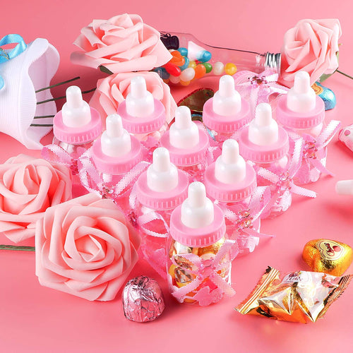(M180)Baby bottles for Baby shower, Baby shower favor gifts- 24Pieces Mini girl Baby shower favors Candy Bottle with 5Pcs Artificial Rose