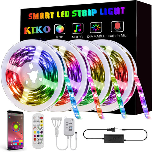 (E437)LED Strip Lights,65.6ft 20m 4X16.4ft Ultra-Long KIKO Smart Led Lights SMD 5050 RGB Color Changing Rope Lights