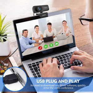 (Y437)1080P Webcam with Microphone for Desktop, FHD Streaming Computer Web Camera with Dual Mic & Privacy Cover & Tripod