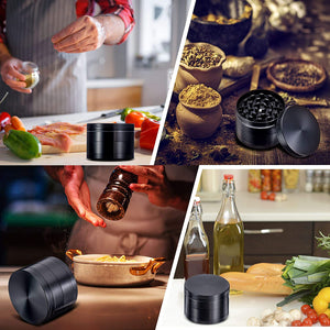 "(Y132)[4 Piece] 2"" Herb Grinder Spice Grinder With Pollen Catcher Zinc Alloy Metal Grinder - Black"