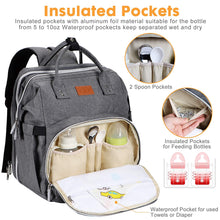 Load image into Gallery viewer, (K360)Diaper Bag with Changing Station, Baby Diaper Bag, Backpack Diaper Bag, Baby Bag with Built-in USB Charging Port and Stroller Straps Large Capacity Waterproof (Grey)