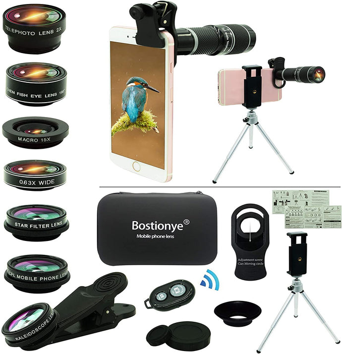 (A837) Cell Phone Camera Lens Kit,11 in 1 Universal 20x Zoom Telephoto Lens,0.63Wide Angle+15X Macro