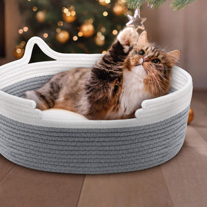 (T431)Zannaki Cute Cat Bed with Cushion, Soft Cotton Woven Basket Nest with Pillow Mat for Kitty Small Dog Puppy, Soft Style Scratch