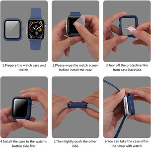(R202)ONMROAD Compatible with Blue Apple Watch Case 44mm Series 6 SE Series 5 Series 4 with Screen Protector, High Sensitive Tempered Glass and PC Protective Cover