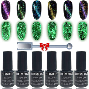 (T023) HOMOST Glow in The Dark Cat Eye Gel Nail Polish Set, 6PCS Magnetic Gel Nail Polish Set with Magnet