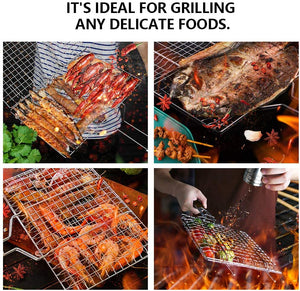 (F163)Huolewa Foldable BBQ Grilling Basket, Portable Barbecue Grill Tool for Fish Vegetables Steak Shrimp Chops, Made of Durable 304 Stainless Steel