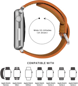 (R203)ONMROAD Leather Bands Compatible with Apple Watch 44mm 42mm, Flexible Glossy Leather Texture Strap for iWatch Series 6 & Series SE & Series 5