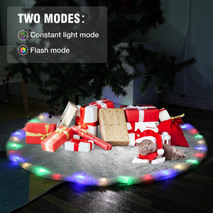 (Q536)AMBOTHER 36 LED Christmas Tree Skirts 48-inch Battery Operated RGB Round Tree Skirt Christmas Decoration with Plush