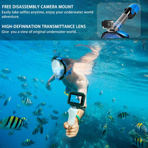 (T660)OUSPT Full Face Snorkel Mask, Snorkeling Mask with Detachable Camera Mount, Panoramic 180° View Upgraded Dive Mask with Safety Breathing System