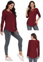 Load image into Gallery viewer, (T522)Women's Cotton Loose Fit T Shirts Fall Tops V-Neck Cutout Long Sleeve Blouse Top