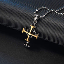 Load image into Gallery viewer, (G245)VXGold Cross Necklace for Men Women, 18K Gold Plated + 2.55 carats Facet Nature Onyx Stone, Quality Pendant on Ball Chain, 20inch 22inch 24inch
