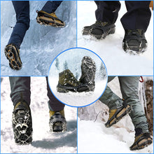 Load image into Gallery viewer, (D386)GOKKCL Traction Cleats Ice Cleats Ice Snow Grips Crampons with Anti Slip 18 Stainless Steel Spikes