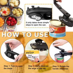(T131)Can Opener Manual- 8 in 1 Multifunctional Stainless Steel Manual Can Opener, Bottle Opener with Rotary Handle, Gifts for Seniors with Arthritis, Safe and Easy to Use