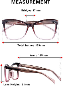 (F133)REECKEY Blue Light Blocking Glasses for Women Oversized Cat Eye Computer Thick Rim Eyeglasses(Gradient Red)