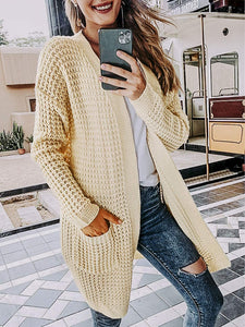 (Q467)Miessial Women's Casual Open Front Knit Cardigan Sweaters Long Sleeve Outwear Soft Knit Coat with Pockets