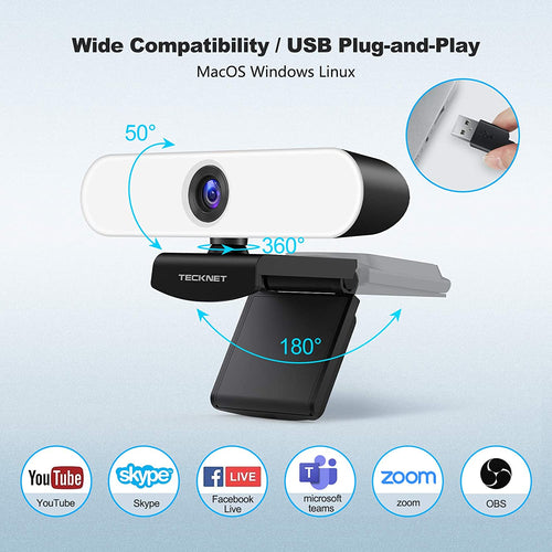 (S172) 1080P Webcam with Microphone for Desktop : Streaming Webcam with 3-Level Brightness Adjustable Ring Light,