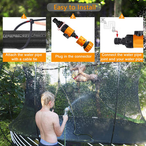 (T694)PQWQP Trampoline Sprinkler for Kids, Fun Summer Outdoor Water Play Sprinkler for Trampoline, Waterpark Outdoor Water Games Yard...
