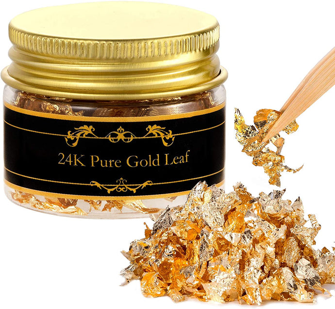 (G276)Edible Genuine Gold Leaf Flakes with Tweezers - 30mg 24K Gold Leaf Decorative Dishes, Genuine Gold Flakes for Cakes, Cooking & Beauty Decorative