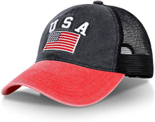 Load image into Gallery viewer, (C473)R'Patriots Unisex Washed American Snapback Baseball Cap with USA Embroidered Text and Flag Mesh Trucker Dad Hat