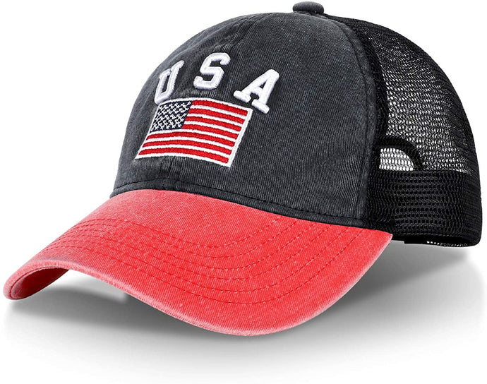 (C473)R'Patriots Unisex Washed American Snapback Baseball Cap with USA Embroidered Text and Flag Mesh Trucker Dad Hat