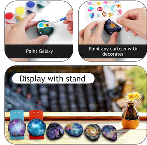 (E627)MITCIEN Galaxy Rock Painting Kit for Kids Rock Painting Arts and Craft Kit for Boys & Girls Includes 10 Smooth Rocks, 12 Paint Colors