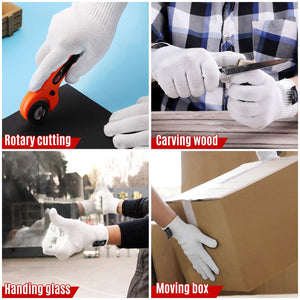 (G125)Schwer Level 6 Cut Resistant Cutting Gloves for Wood Carving Rotary Cutting Handling Glass Moving Boxes with Rubber Grip