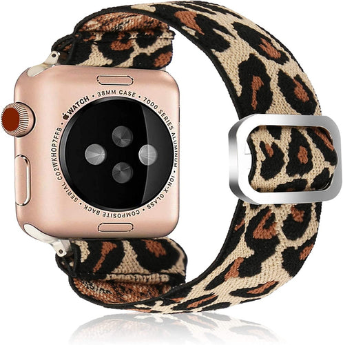 (G065)Adjustable Elastic Strap Band for Apple Watch, 38mm 40mm, Ladies and Girls Leopard Band Strap Bracelet Scrunchie Watch Band for iwatch Series 1 2 3 4 5