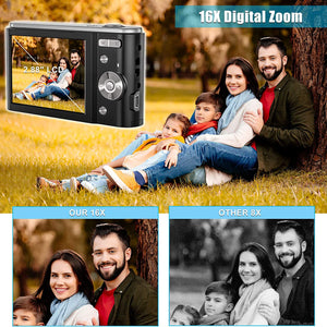"(C710) 44MP Small Digital Camera for Photography Beginners, 2.7K Vlogging Camera 2.88"" LCD 16X Digital Zoom Rechargeable Point and Shoot Camera for Kids Teens Gift"