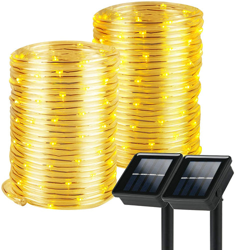 (K324)Solar Rope Lights, 2 Pack 8 Modes Solar Rope Lights Outdoor Waterproof IP65 with 100 LED