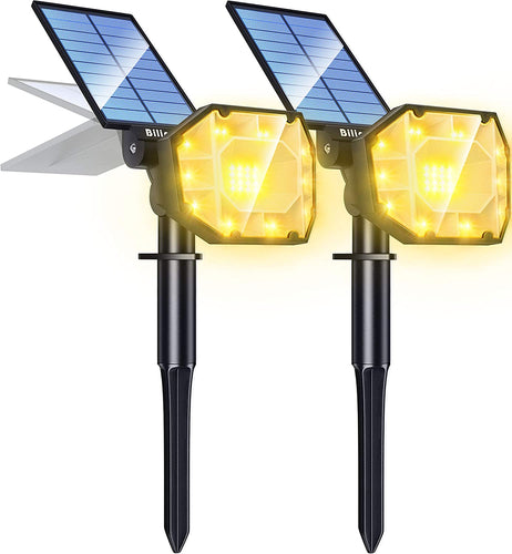 (H762) Biling 30 LED Solar Landscape Lights Spotlight, 2-in-1 Bright Solar Lights Outdoor Landscaping Spotlights,
