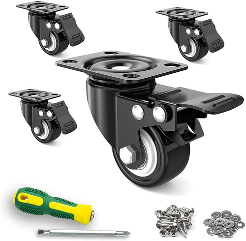"(Q289)2"" Caster Wheels,Set of 4,Heavy Duty Swivel Casters with Brake, Safety Dual Locking and No Noise Polyurethane (PU) Wheels"