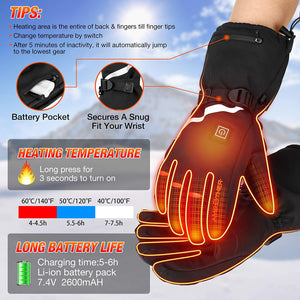 (Q534)AMBOTHER USB Heated Gloves for Men Women Rechargeable Lithium Battery 3M Cotton Waterproof Temperature Settings
