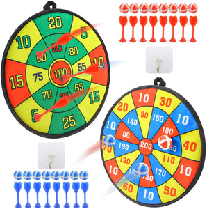 (W947)Qutasivary 36pcs Board Games for Kids, 2 Pack Dart Boards for Kids with 16 Sticky Balls&16 Velcro Darts , 13 inches Darts Board Set with Hooks, Xmas Gift