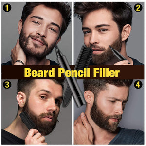 (S701)Beard Pencil Filler, AFDEAL Barber Pencil with Brush Kit, Mustache Eyebrow Repair Shape Fast Natural Hair Grower Male Micro-Fork Tip