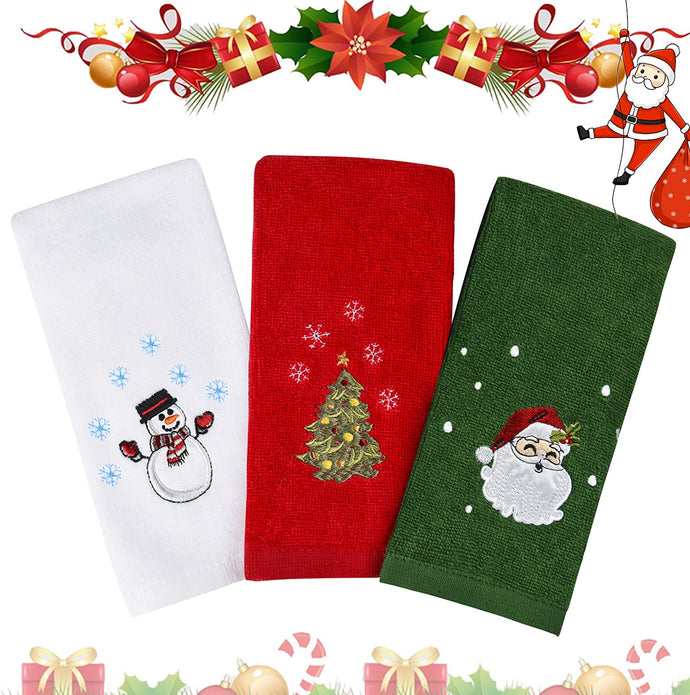 (T702)Christmas Hand Towels Washcloths, 100% Pure Cotton Bathroom Kitchen Washcloths Towels, Basin Towels 12
