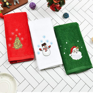"(T702)Christmas Hand Towels Washcloths, 100% Pure Cotton Bathroom Kitchen Washcloths Towels, Basin Towels 12"" x 18"" Set of 3, Drying, Cleaning and Decor"